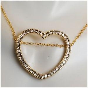 """Huge Floating CZ, 14k Gold Heart Necklace 18"""""""